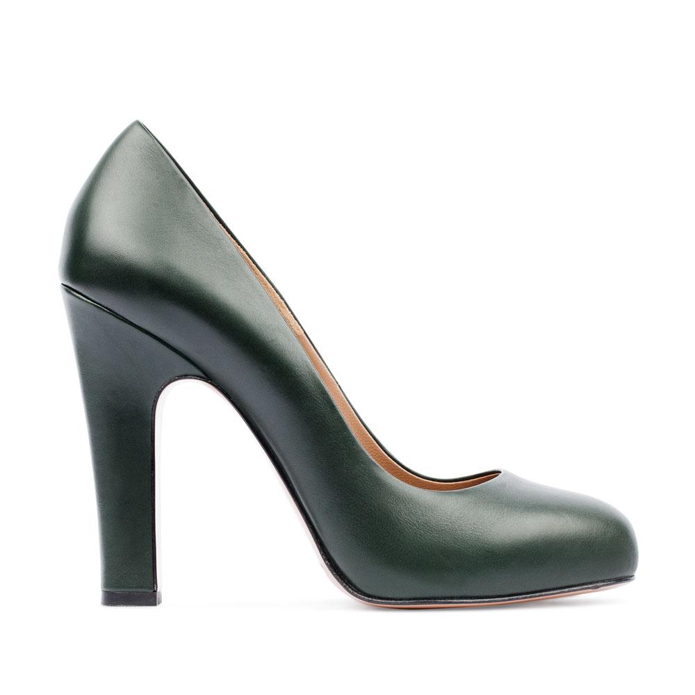Туфли из кожи темно-зеленого цвета на устойчивом каблукеТуфли женские<br><br>Материал верха: Кожа<br>Материал подкладки: Кожа<br>Материал подошвы: Кожа<br>Цвет: Зеленый<br>Высота каблука: 10 см<br>Дизайн: Италия<br>Страна производства: Китай<br><br>Высота каблука: 10 см<br>Материал верха: Кожа<br>Материал подкладки: Кожа<br>Цвет: Зеленый<br>Вес кг: 0.47400000<br>Размер обуви: 38