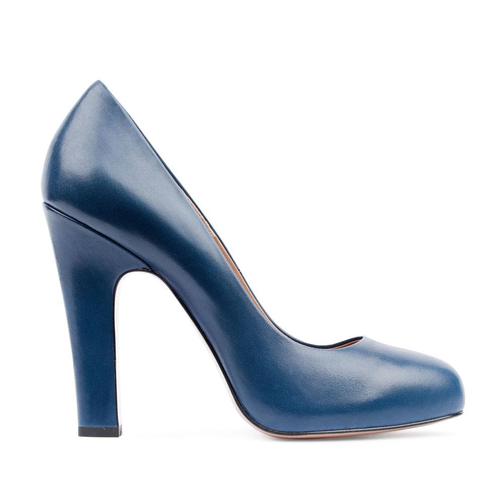 Туфли из кожи кобальтового цвета на высоком устойчивом каблуке