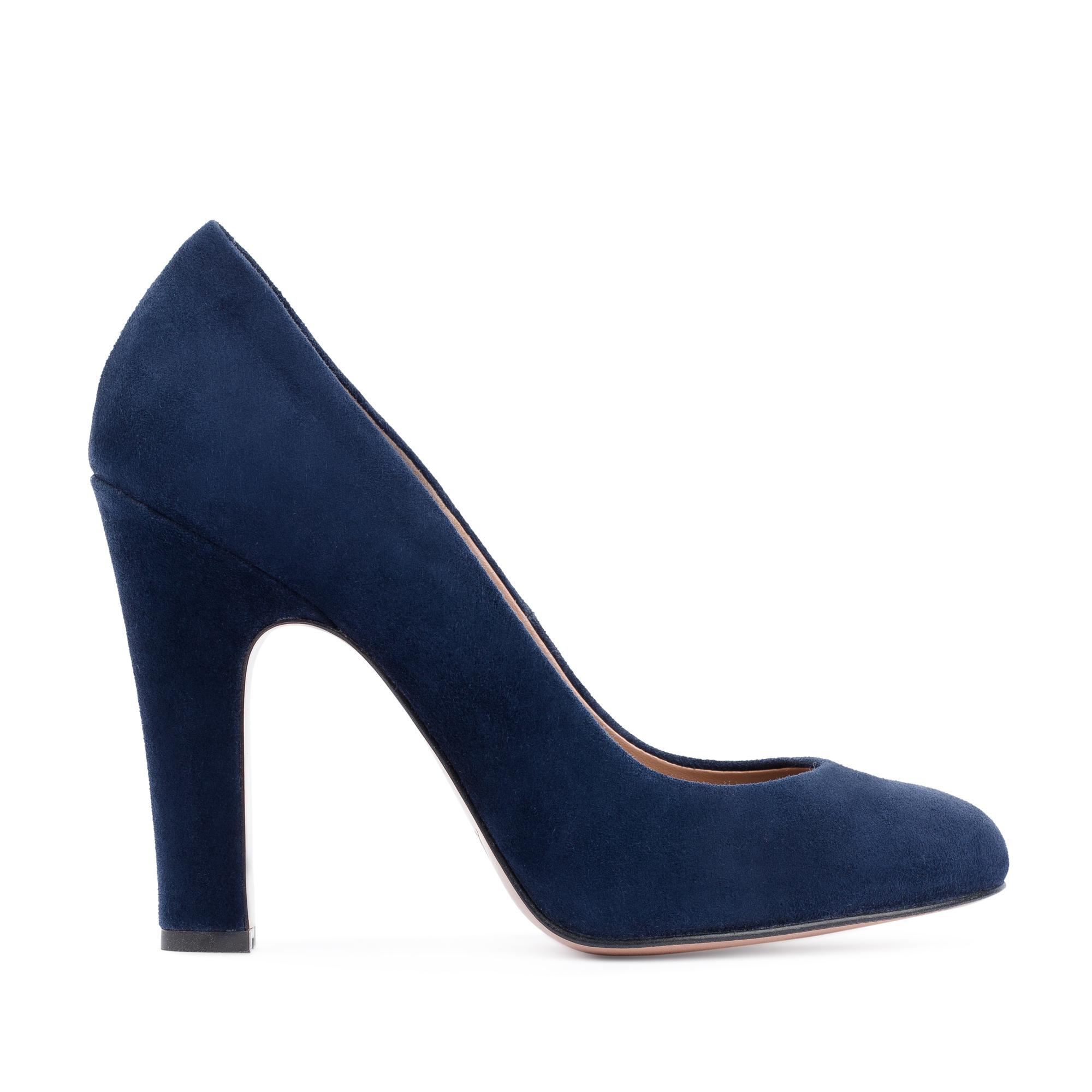 Туфли из замши сапфирового цвета на высоком устойчивом каблуке