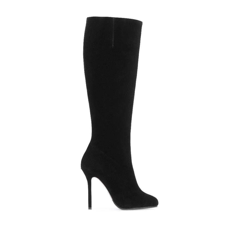 Замшевые сапоги на высоком каблуке черного цветаСапоги женские<br><br>Материал верха: Замша<br>Материал подкладки: Текстиль<br>Материал подошвы: Кожа<br>Цвет: Черный<br>Высота каблука: 10 см<br>Дизайн: Италия<br>Страна производства: Китай<br><br>Высота каблука: 10 см<br>Материал верха: Замша<br>Материал подошвы: Кожа<br>Материал подкладки: Текстиль<br>Цвет: Черный<br>Вес кг: 1.00000000<br>Размер обуви: 35