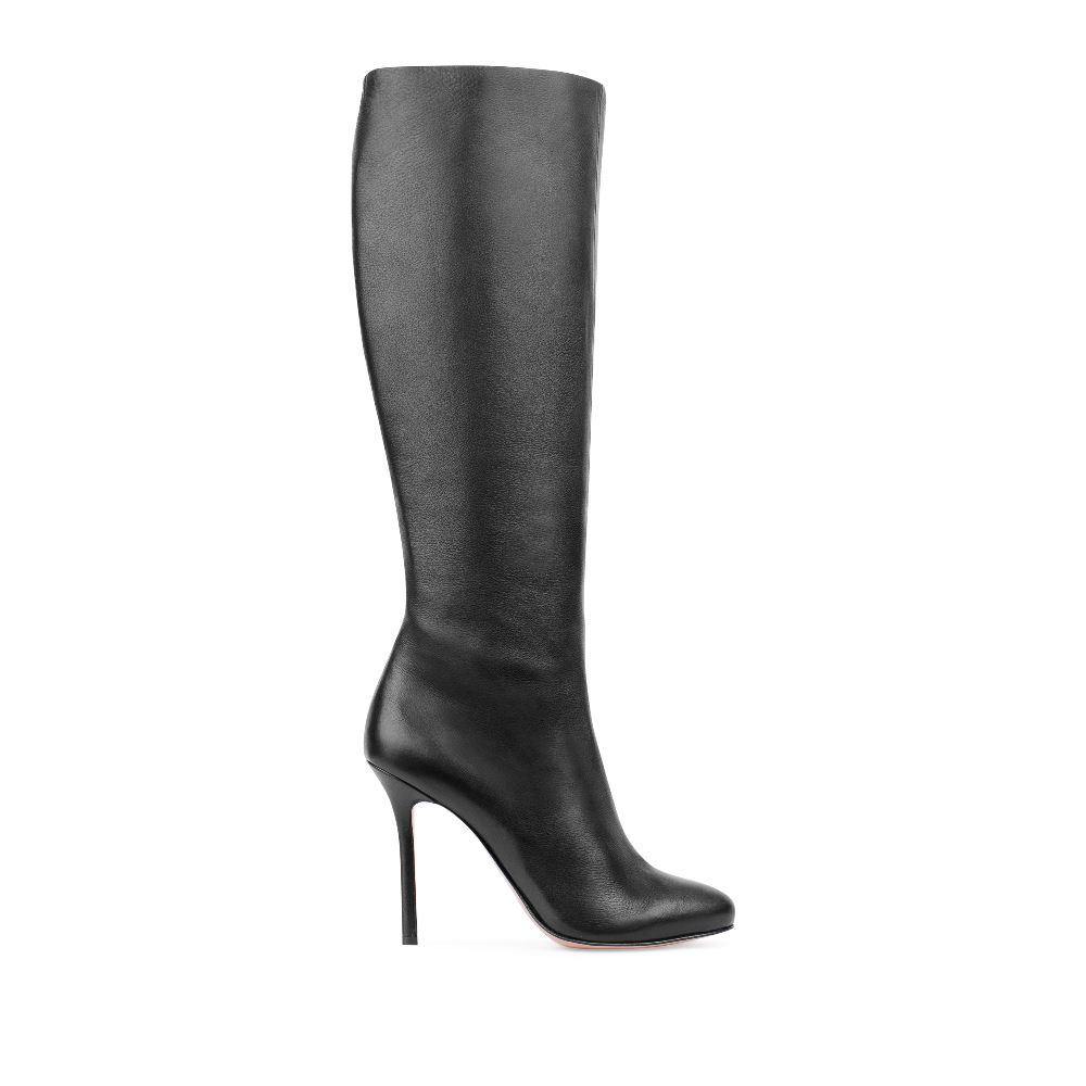 Кожаные сапоги черного цвета на шпильке 17-627-01-19-21
