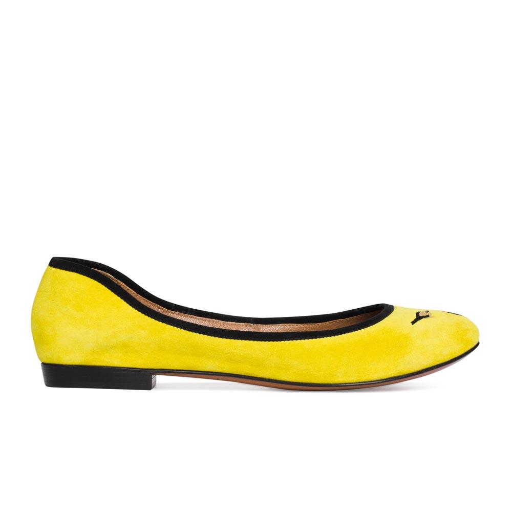 Балетки из замши канареечного цвета с вышивкойТуфли женские<br><br>Материал верха: Замша<br>Материал подкладки: Кожа<br>Материал подошвы: Кожа<br>Цвет: Желтый<br>Высота каблука: 1 см<br>Дизайн: Италия<br>Страна производства: Китай<br><br>Высота каблука: 1 см<br>Материал верха: Замша<br>Материал подкладки: Кожа<br>Цвет: Желтый<br>Пол: Женский<br>Вес кг: 1<br>Размер обуви: 39