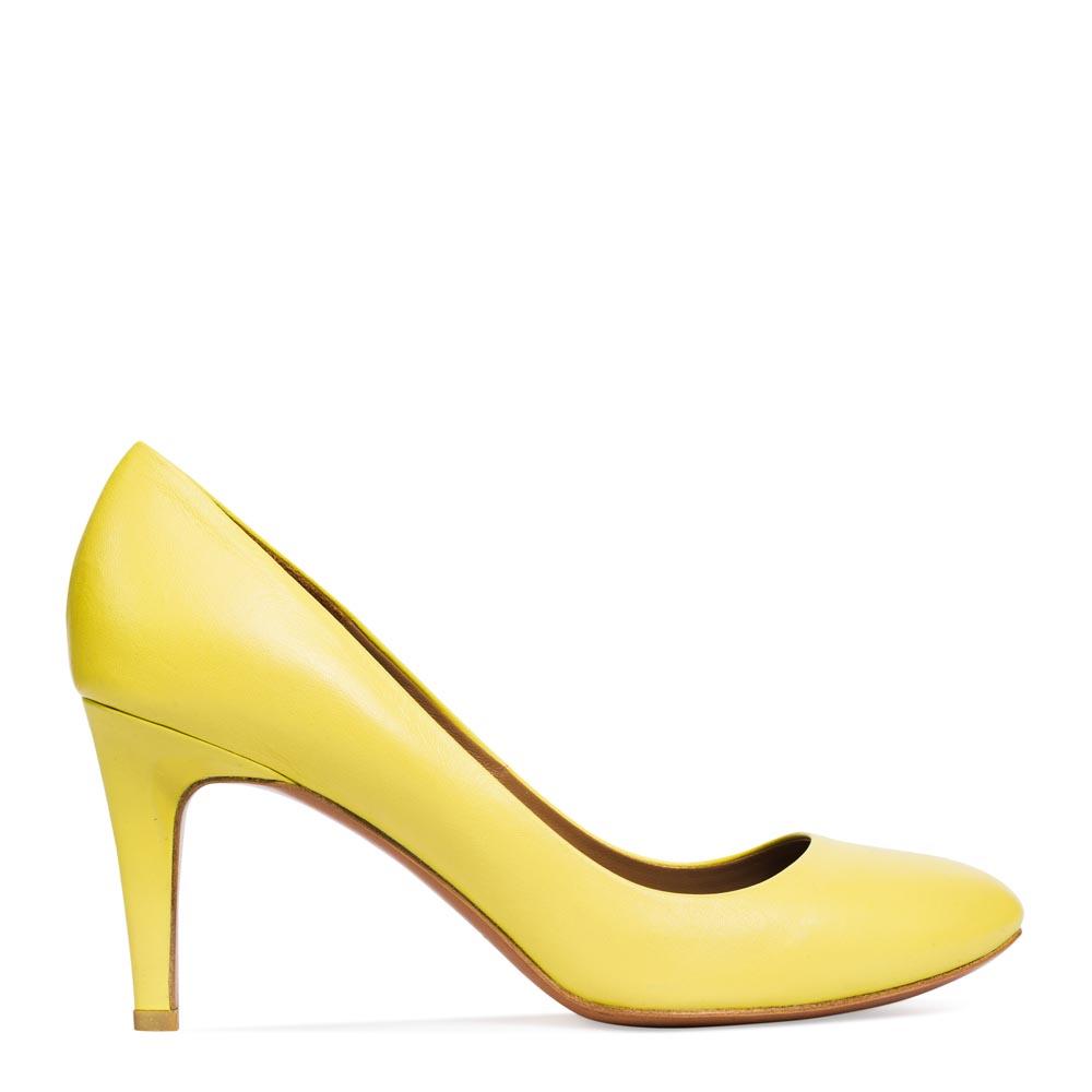 Туфли из кожи цвета мимозы на среднем каблукеТуфли женские<br><br>Материал верха: Кожа<br>Материал подкладки: Кожа<br>Материал подошвы: Кожа<br>Цвет: Желтый<br>Высота каблука: 8 см<br>Дизайн: Италия<br>Страна производства: Китай<br><br>Высота каблука: 8 см<br>Материал верха: Кожа<br>Материал подкладки: Кожа<br>Цвет: Желтый<br>Пол: Женский<br>Вес кг: 1.00000000<br>Размер обуви: 39