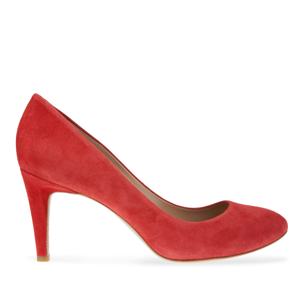 Туфли из замши красного цвета на среднем каблуке