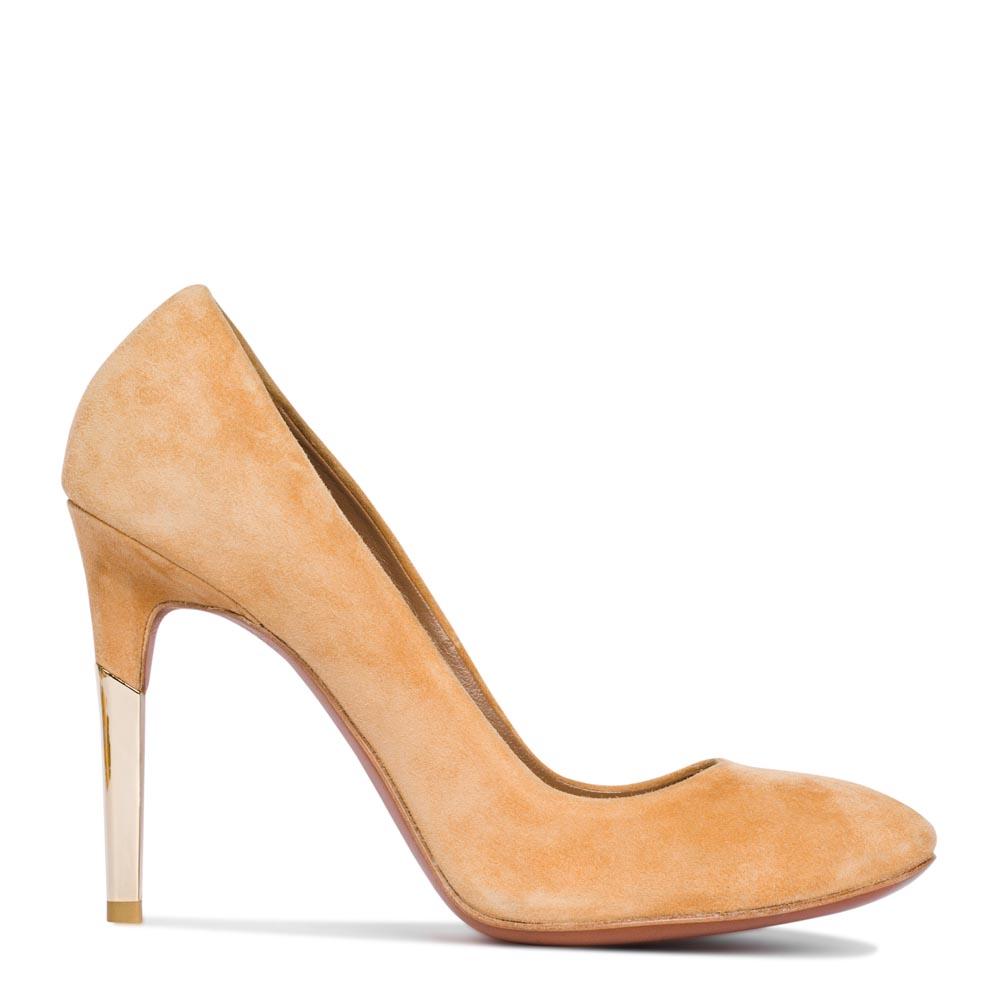 Туфли из замши персикового цвета на металлическом каблуке