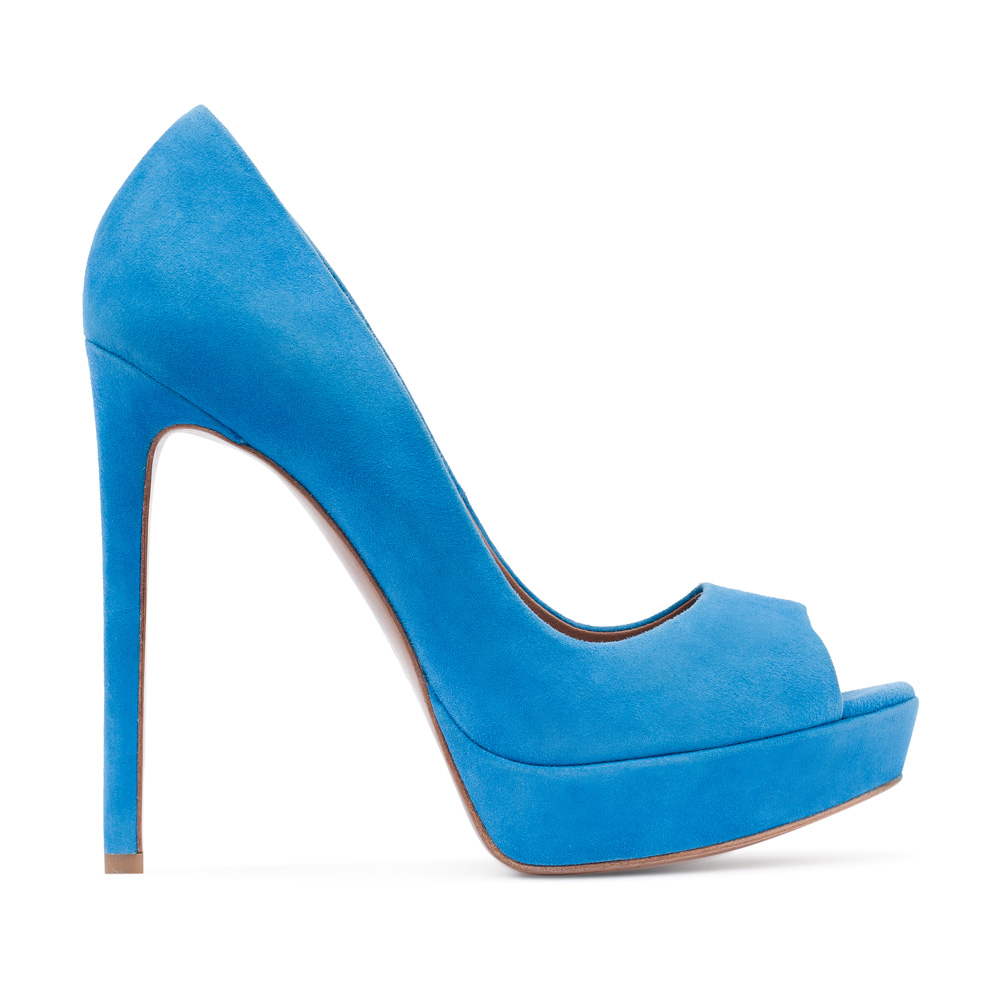 Туфли из замши голубого цвета на высоком каблуке