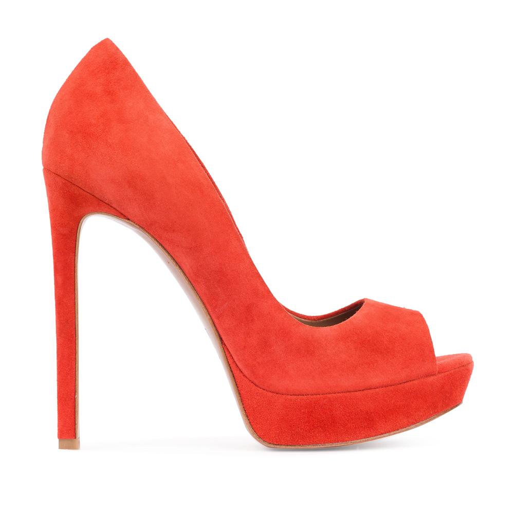 Туфли из замши оранжевого цвета на высоком каблуке