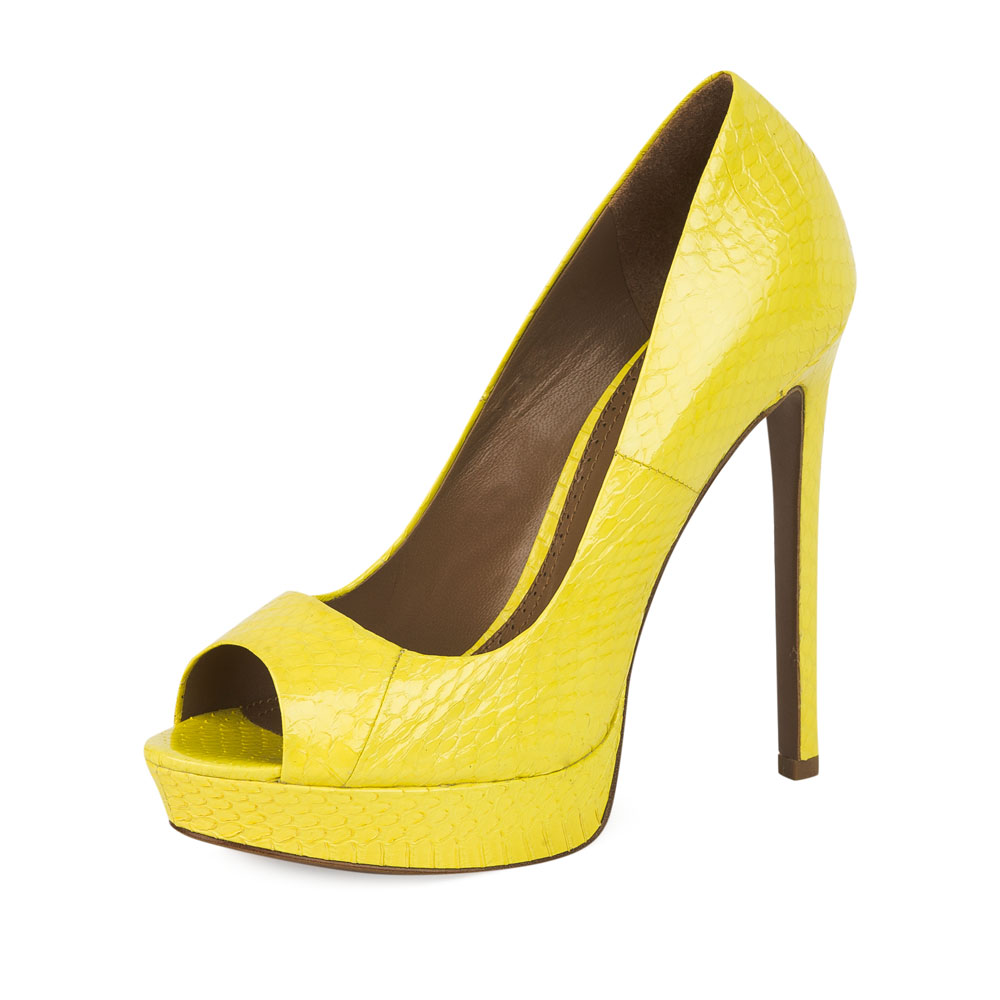 Туфли на каблуке CorsoComo (Корсо Комо) Туфли из лакированной кожи змеи неоново-желтого цвета