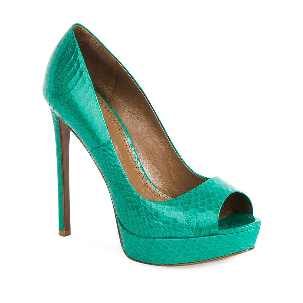 Туфли на каблуке CorsoComo (Корсо Комо) Туфли из кожи змеи бирюзового цвета на высоком каблуке