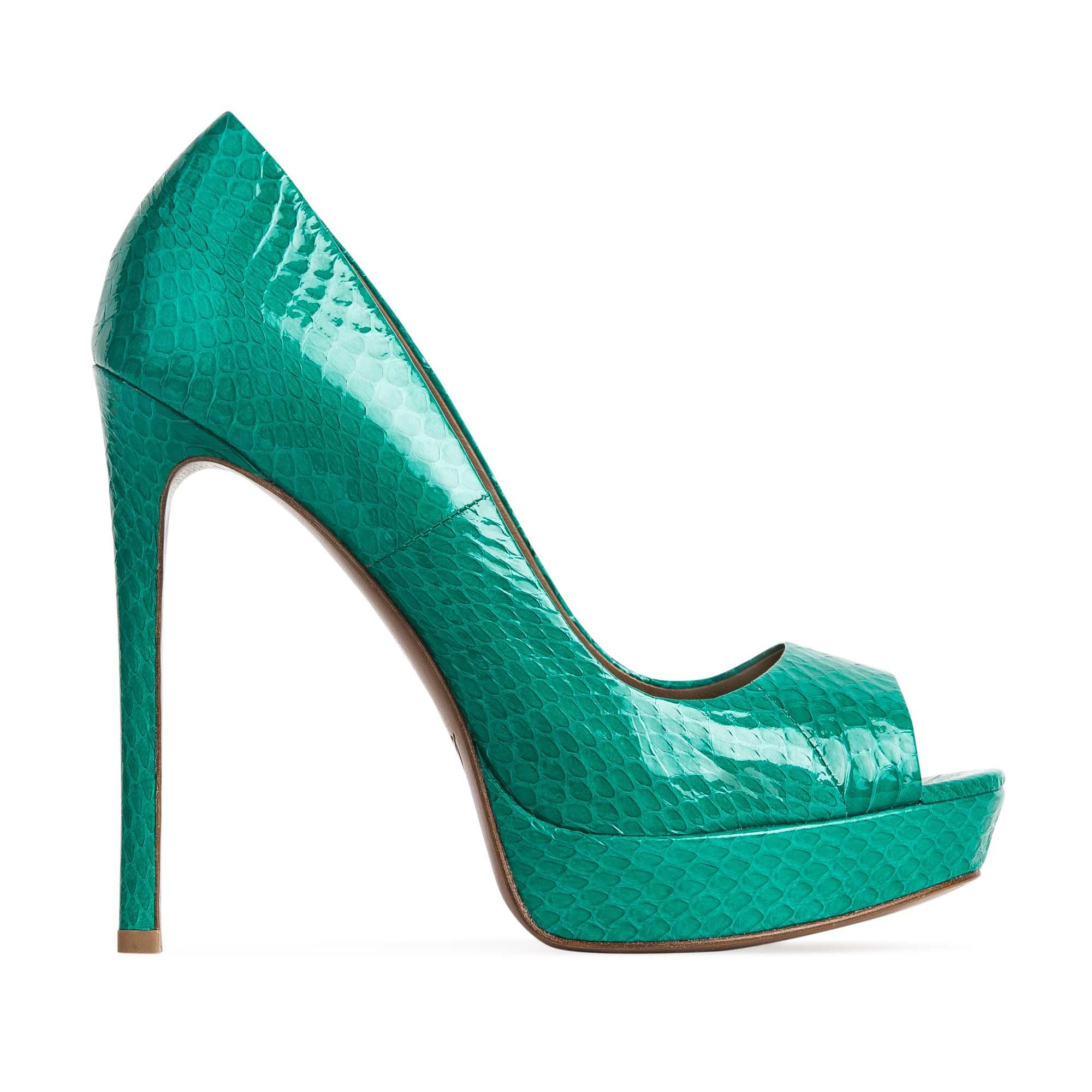 Туфли из кожи змеи бирюзового цвета на высоком каблуке
