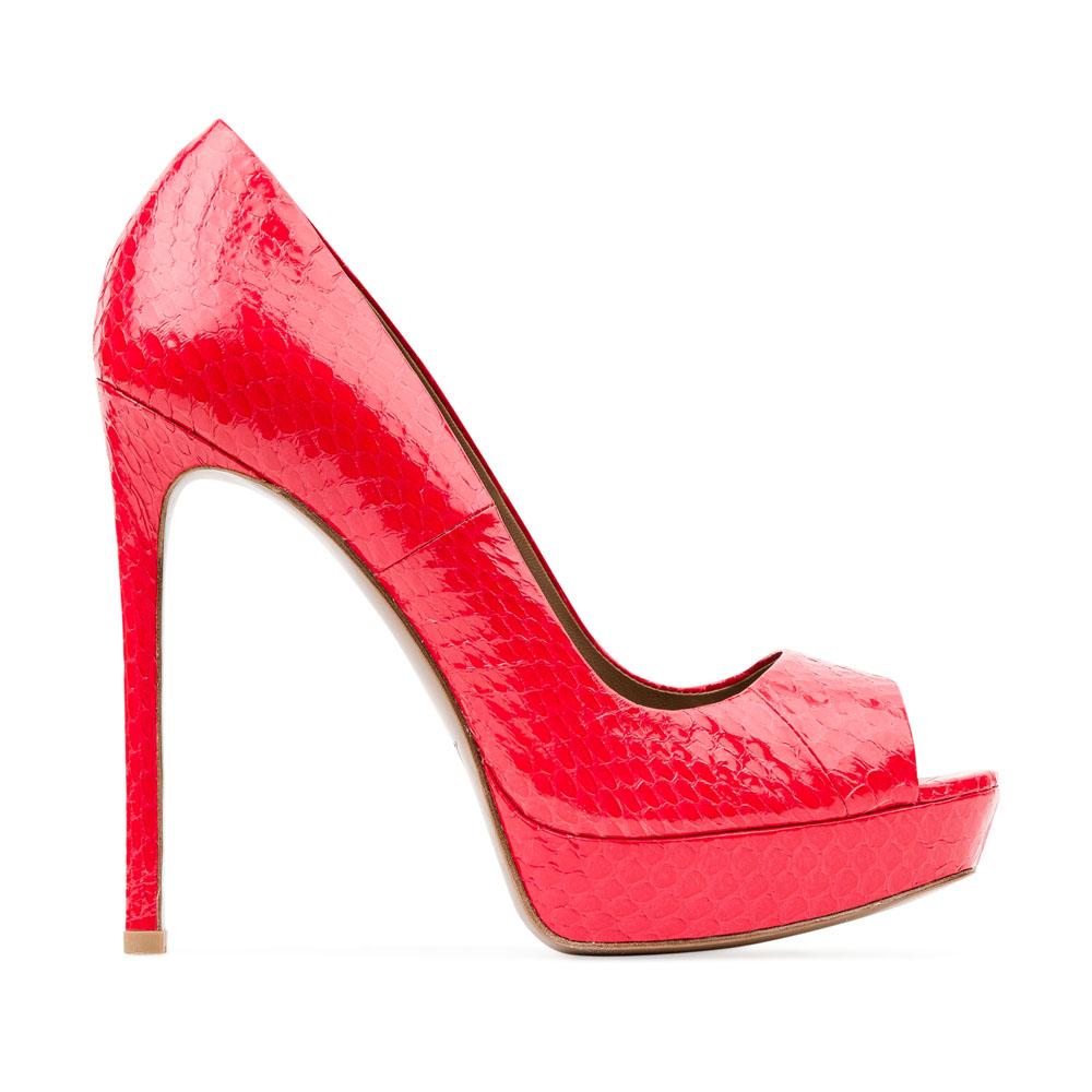 Туфли из лакированной кожи кораллового цвета на высоком каблукеТуфли женские<br><br>Материал верха: кожа змеи<br>Материал подкладки: Кожа<br>Материал подошвы: Кожа<br>Цвет: Красный<br>Высота каблука: 13 см<br>Дизайн: Италия<br>Страна производства: Китай<br><br>Высота каблука: 13 см<br>Материал верха: Кожа змеи<br>Материал подошвы: Кожа<br>Материал подкладки: Кожа<br>Цвет: Красный<br>Пол: Женский<br>Вес кг: 0.54200000<br>Выберите размер обуви: 38