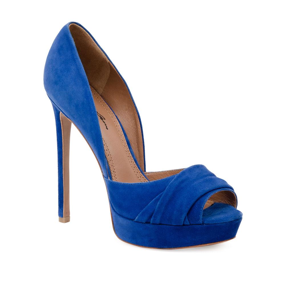 Туфли на каблуке CorsoComo (Корсо Комо) Туфли из замши ультрамаринового цвета с открытым мыском