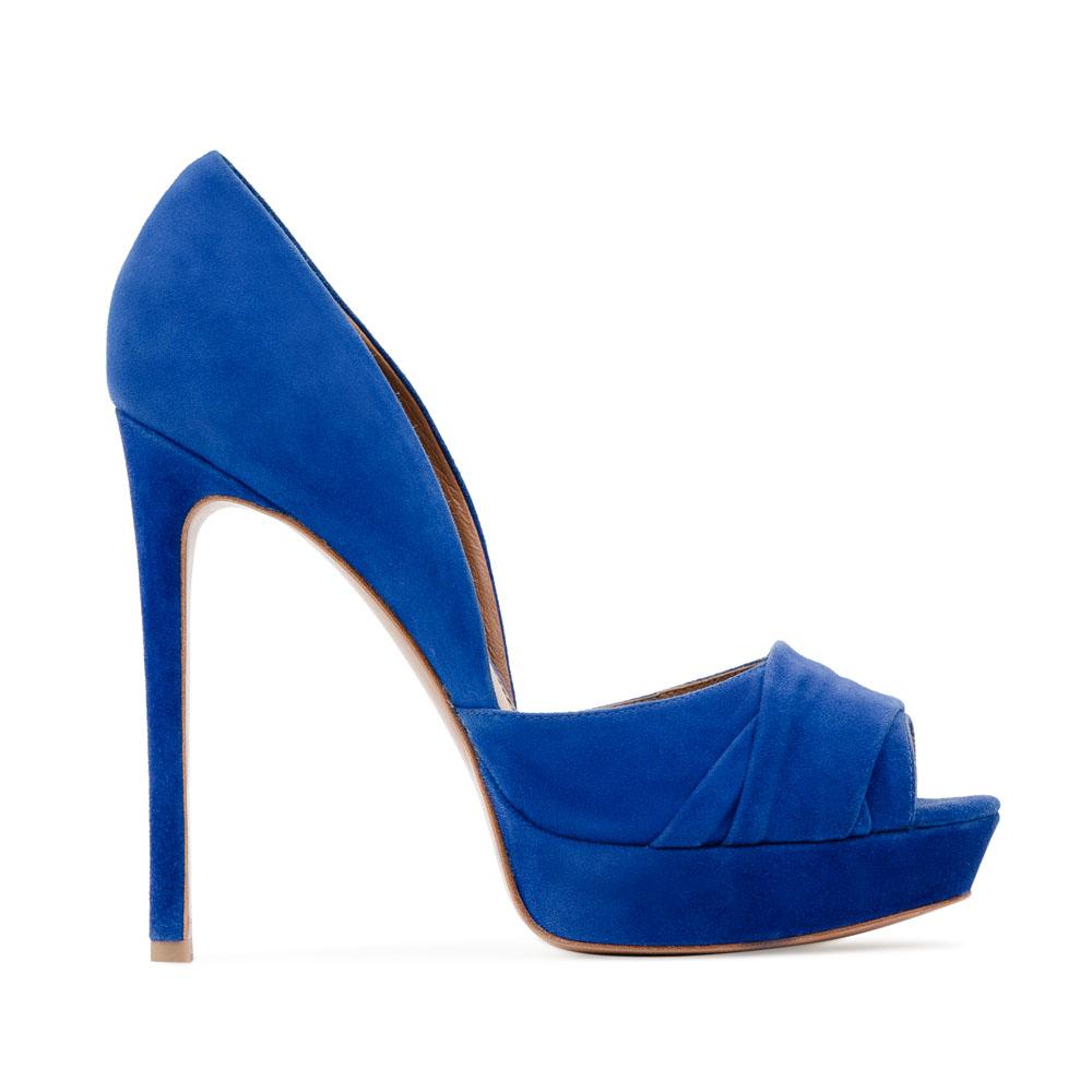 Туфли из замши ультрамаринового цвета с открытым мыском