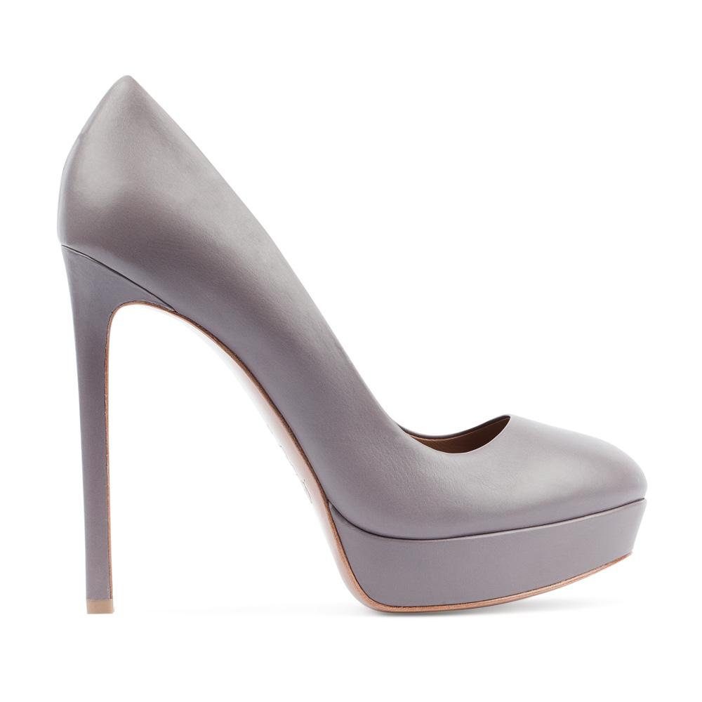 Туфли из кожи пепельно-серого цвета на высоком каблуке
