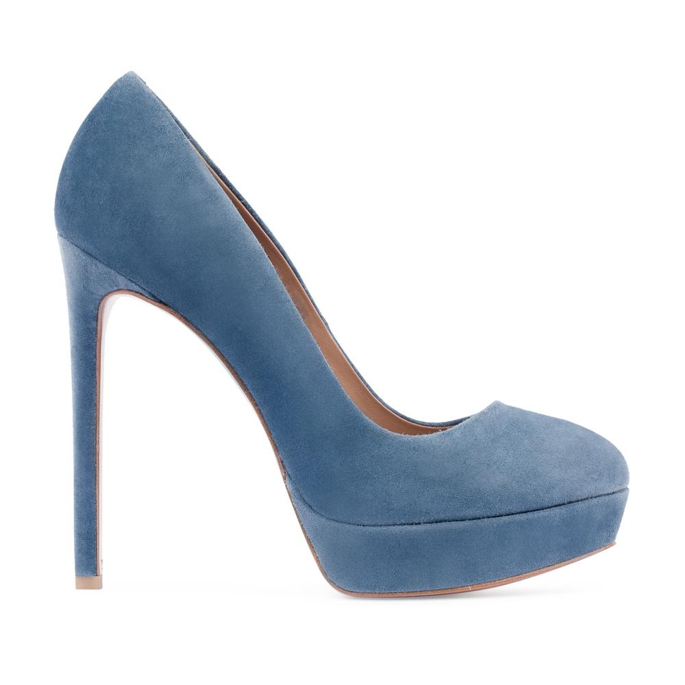Туфли из замши пепельно-голубого цвета на высоком каблуке