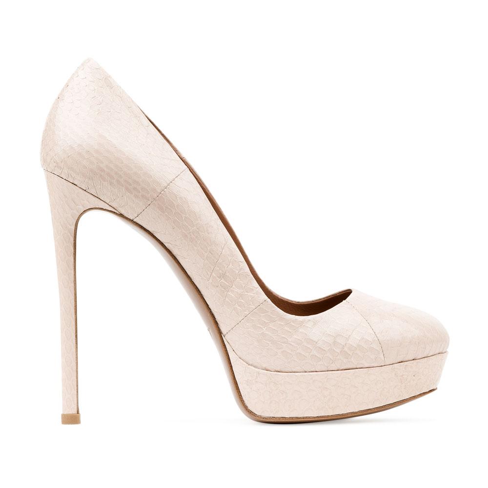 Туфли из кожи змеи сливочного цвета на высоком каблуке