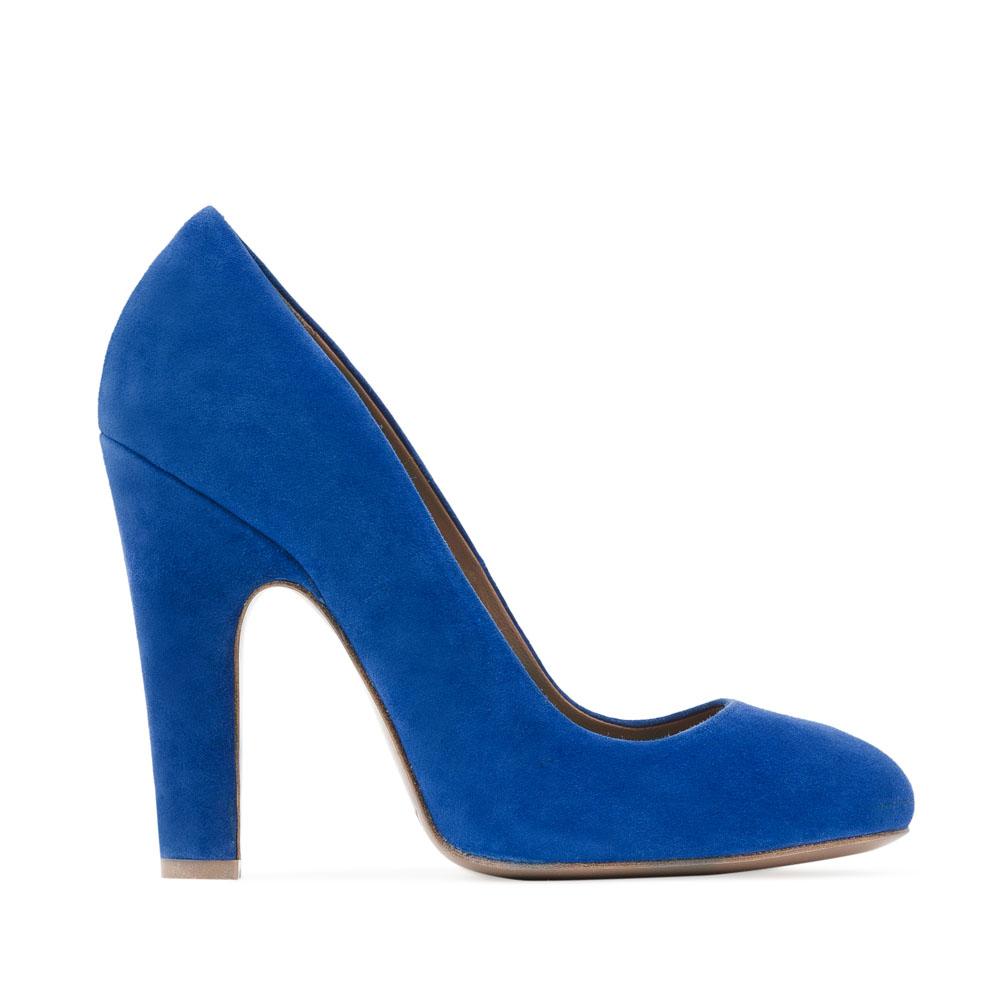 Замшевые туфли ультрамаринового цвета на устойчивом каблуке