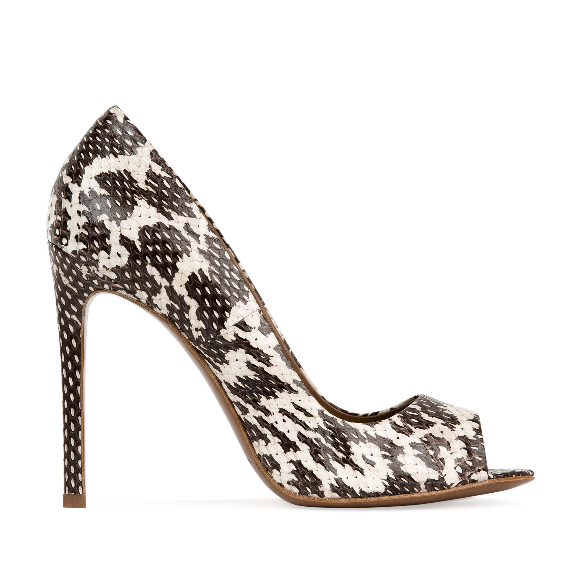 Туфли из лакированной кожи змеи с анималистичным принтом