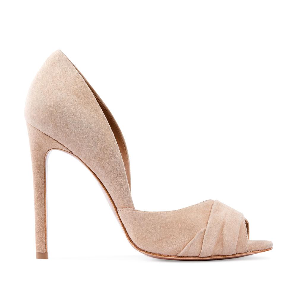 Туфли из замши телесного цвета с открытым мыском