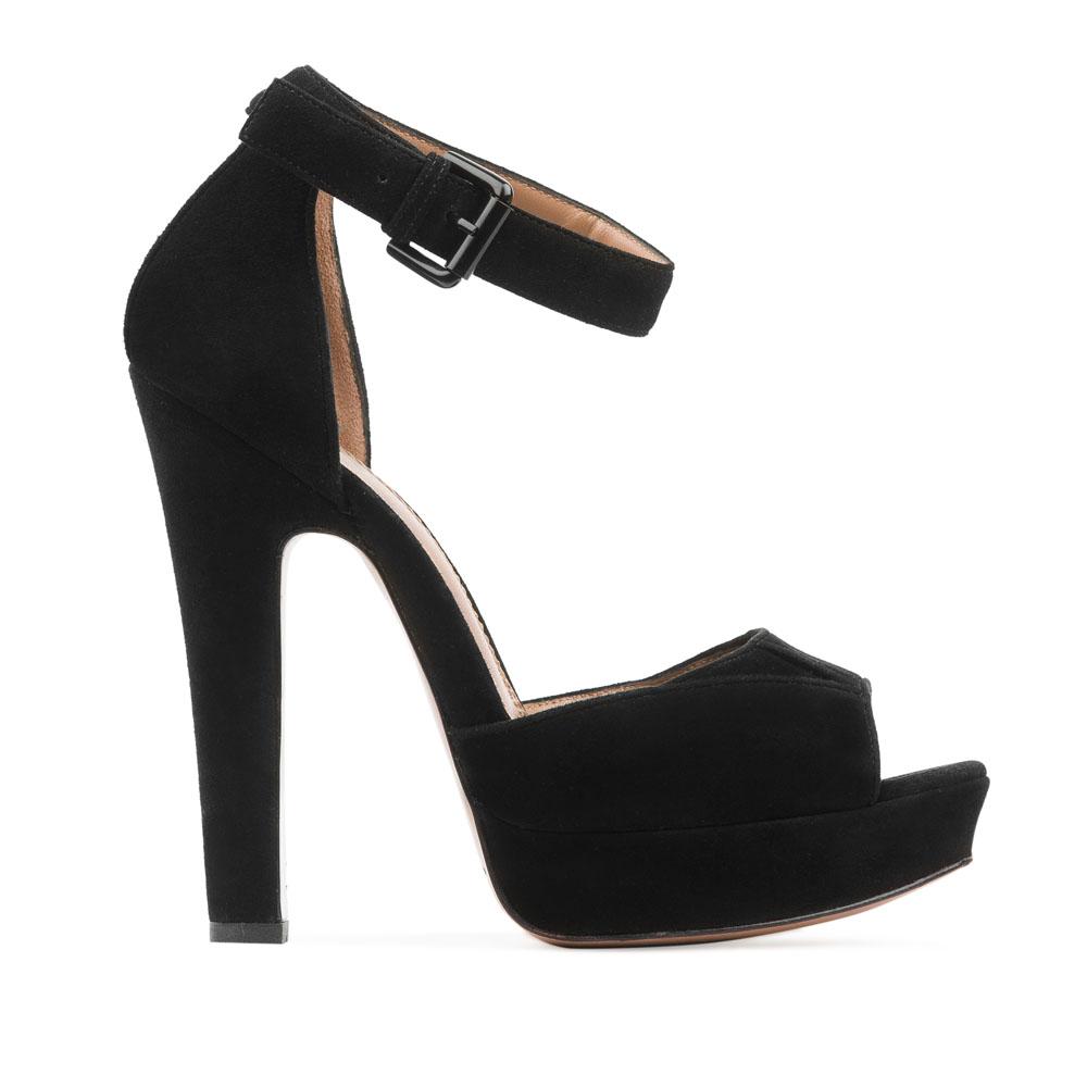 Босоножки замшевые чёрного цвета на высоком устойчивом каблуке