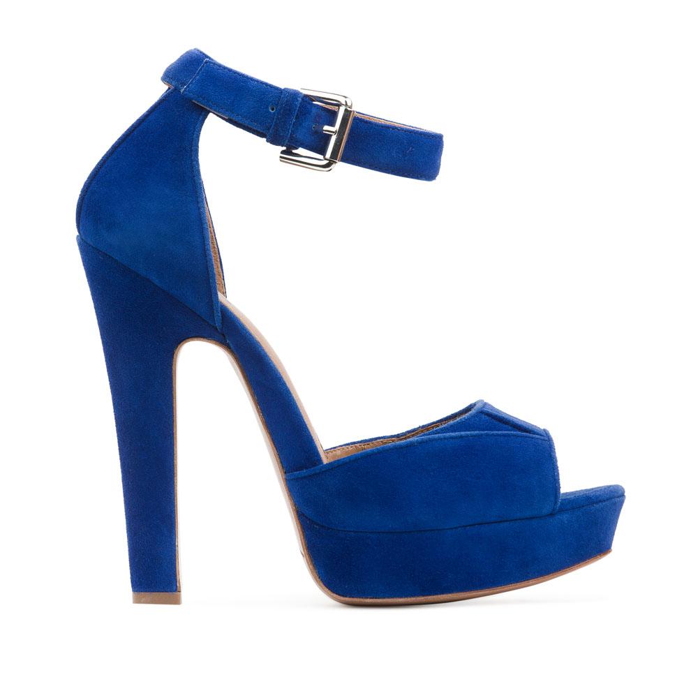 Босоножки из замши цвета электрик на высоком каблукеБосоножки женские<br><br>Материал верха: Замша<br>Материал подкладки: Кожа<br>Материал подошвы: Кожа<br>Цвет: Синий<br>Высота каблука: 14 см<br>Дизайн: Италия<br>Страна производства: Китай<br><br>Высота каблука: 14 см<br>Материал верха: Замша<br>Материал подошвы: Кожа<br>Материал подкладки: Кожа<br>Цвет: Синий<br>Вес кг: 0.62000000<br>Размер: 39**