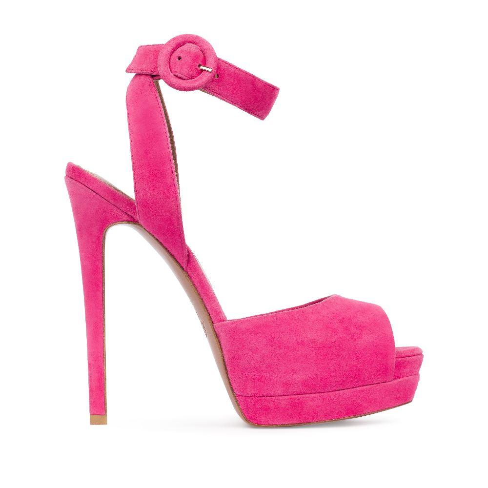 Босоножки из замши розового цвета с ремешкомТуфли женские<br><br>Материал верха: Замша<br>Материал подкладки: Кожа<br>Материал подошвы:Кожа<br>Цвет: Розовый<br>Высота каблука: 12 см<br>Дизайн: Италия<br>Страна производства: Китай<br><br>Высота каблука: 12 см<br>Материал верха: Замша<br>Материал подошвы: Кожа<br>Материал подкладки: Кожа<br>Цвет: Розовый<br>Вес кг: 1.00000000<br>Размер: 38.5