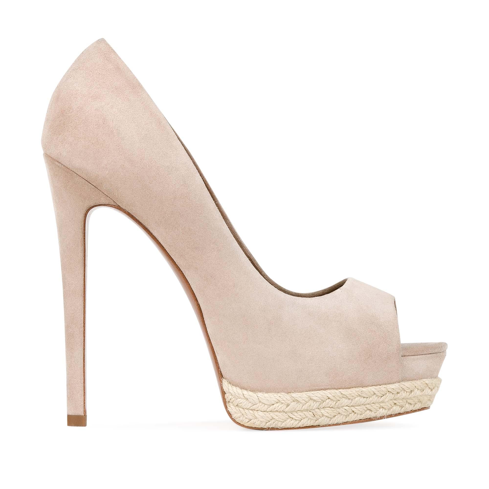 CORSOCOMO Замшевые туфли телесного цвета на джутовой подошве 17-665-10-58A-15