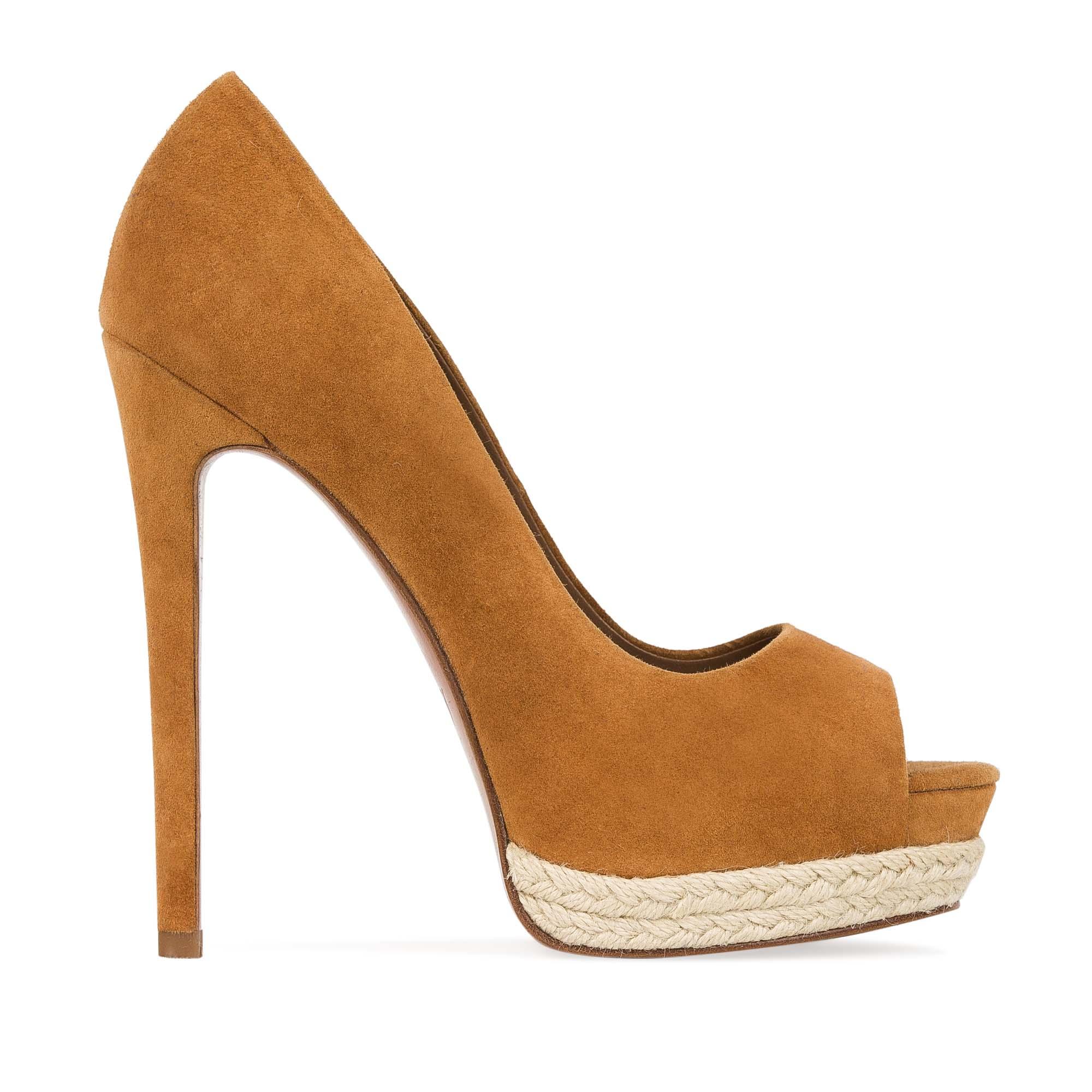 Туфли из замши горчичного цвета на джутовой подошве