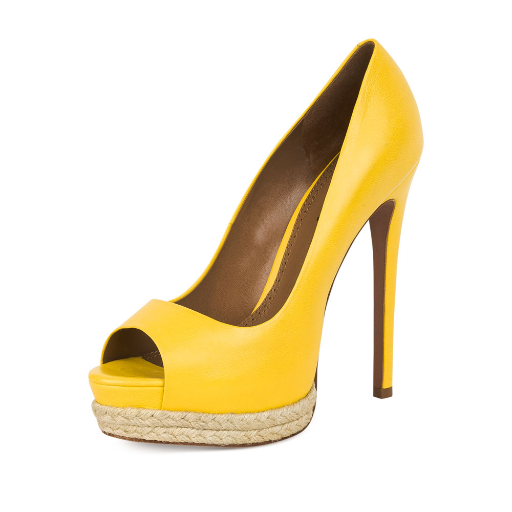 Туфли на каблуке CorsoComo (Корсо Комо) 17-665-10-58A-75 к.п. Туфли жен кожа желт.