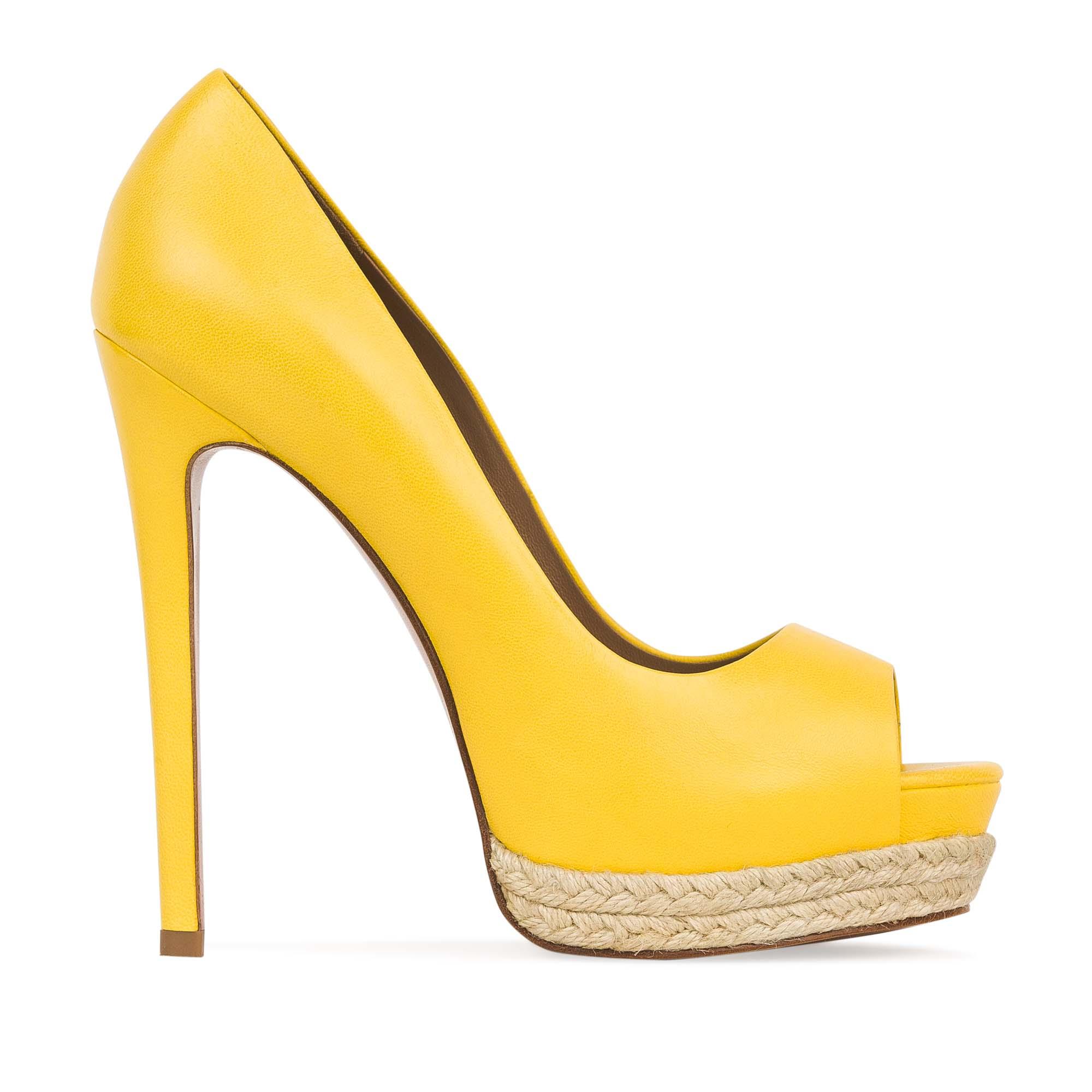 Кожаные туфли канареечного цвета на джутовой подошвеТуфли женские<br><br>Материал верха: Кожа<br>Материал подкладки: Кожа<br>Материал подошвы: Кожа<br>Цвет: Желтый<br>Высота каблука: 13 см<br>Дизайн: Италия<br>Страна производства: Китай<br><br>Высота каблука: 13 см<br>Материал верха: Кожа<br>Материал подошвы: Кожа<br>Материал подкладки: Кожа<br>Цвет: Желтый<br>Пол: Женский<br>Вес кг: 0.58600000<br>Размер: 38