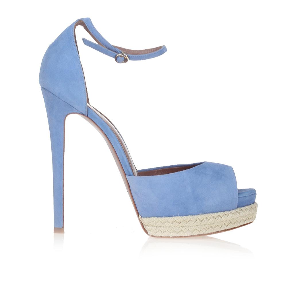 Замшевые босоножки небесно-голубого цвета на джутовой подошвеБосоножки женские<br><br>Материал верха: Замша<br>Материал подкладки: Кожа<br>Материал подошвы: Кожа<br>Цвет: Голубой<br>Высота каблука: 14см<br>Дизайн: Италия<br>Страна производства: Китай<br><br>Высота каблука: 14 см<br>Материал верха: Замша<br>Материал подошвы: Кожа<br>Материал подкладки: Кожа<br>Цвет: Голубой<br>Вес кг: 0.57000000<br>Размер: 39**