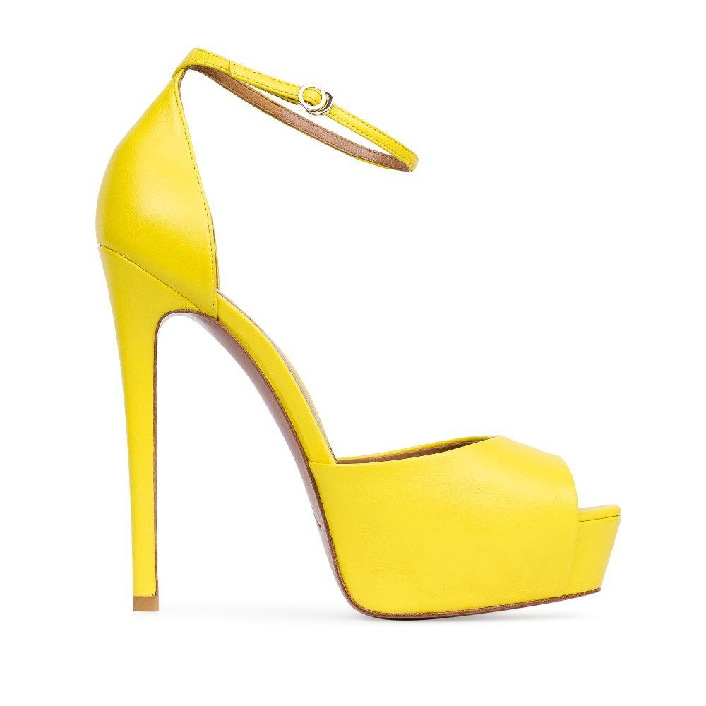 Босоножки из кожи желтого цвета с ремешкомТуфли женские<br><br>Материал верха: Кожа<br>Материал подкладки: Кожа<br>Материал подошвы:Кожа<br>Цвет: Желтый<br>Высота каблука: 14 см<br>Дизайн: Италия<br>Страна производства: Китай<br><br>Высота каблука: 14 см<br>Материал верха: Кожа<br>Материал подошвы: Кожа<br>Материал подкладки: Кожа<br>Цвет: Желтый<br>Вес кг: 1.00000000<br>Размер: 38.5