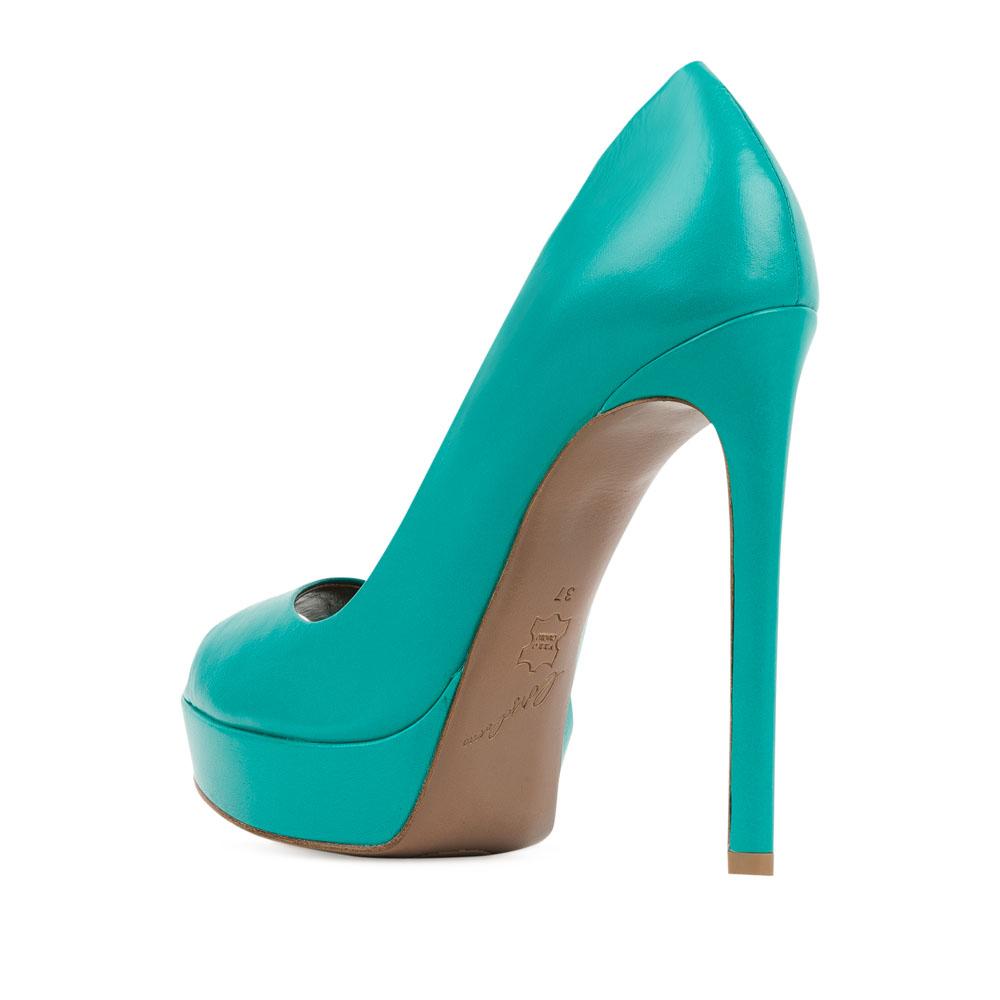 Туфли на каблуке CorsoComo (Корсо Комо) Туфли из кожи темно-бирюзового цвета на высоком каблуке