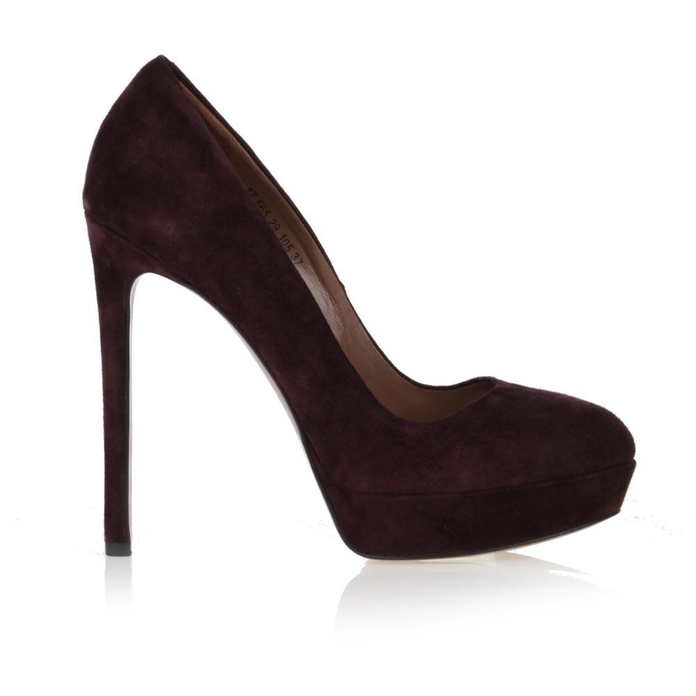 Туфли из замши винного цвета на высоком каблуке