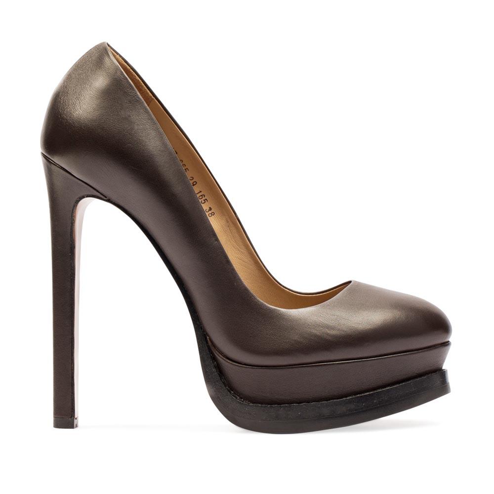 Туфли из кожи кофейного цвета на высоком каблуке