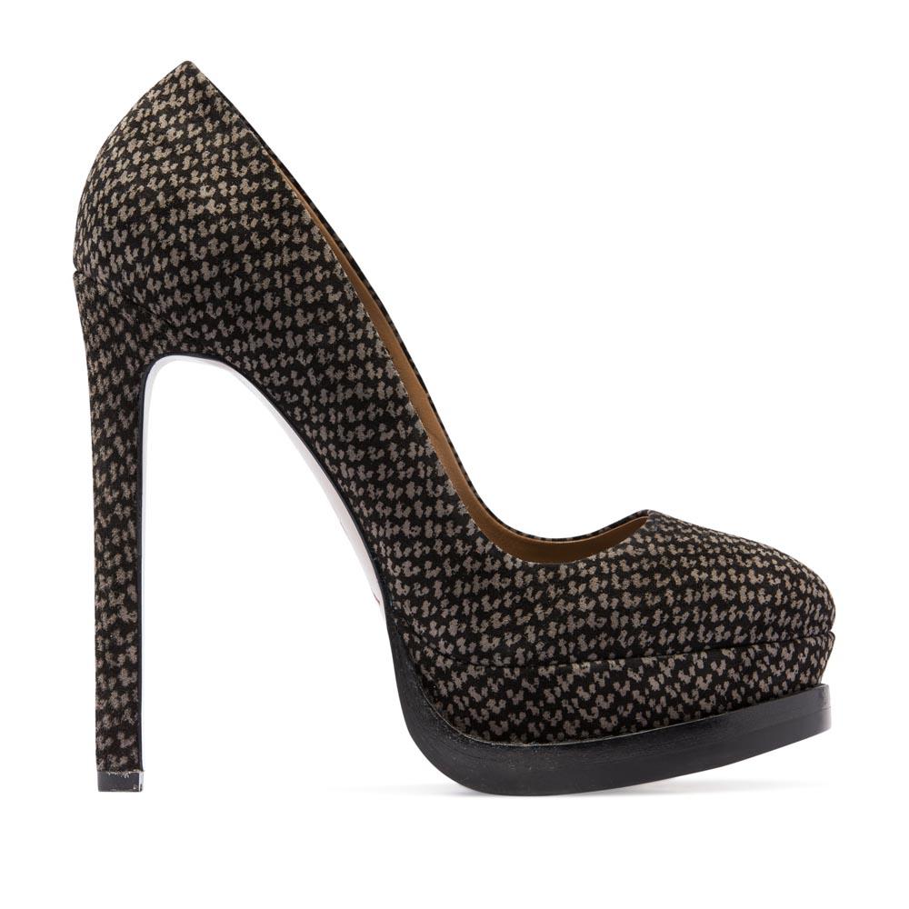 """Замшевые туфли с принтом """"гусиная лапка"""" на высоком каблуке"""