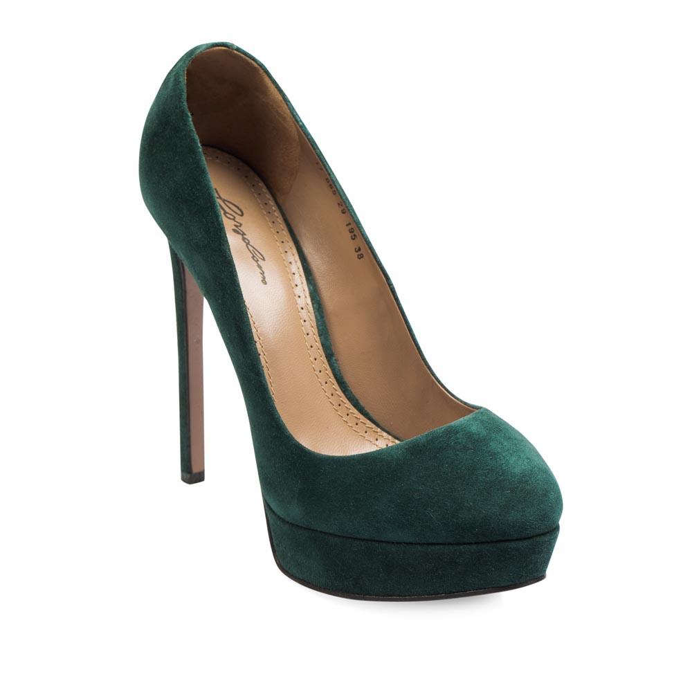 Туфли на каблуке CorsoComo (Корсо Комо) Туфли из замши изумрудного цвета на высоком каблуке