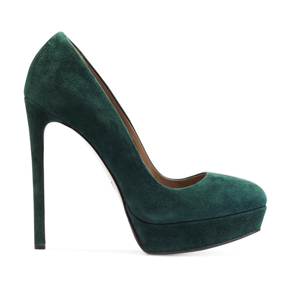 Туфли из замши изумрудного цвета на высоком каблуке