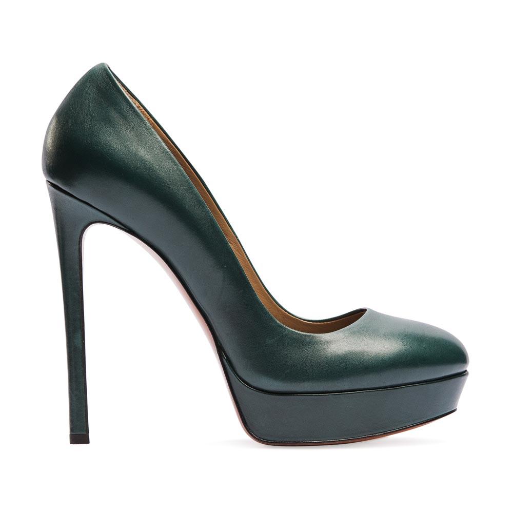 Туфли из кожи темно-зеленого цвета на высоком каблукеТуфли женские<br><br>Материал верха: Кожа<br>Материал подкладки: Кожа<br>Материал подошвы: Кожа<br>Цвет: Зеленый<br>Высота каблука: 13см<br>Дизайн: Италия<br>Страна производства: Китай<br><br>Высота каблука: 13 см<br>Материал верха: Кожа<br>Материал подкладки: Кожа<br>Цвет: Зеленый<br>Пол: Женский<br>Вес кг: 1.44000000<br>Выберите размер обуви: 37.5