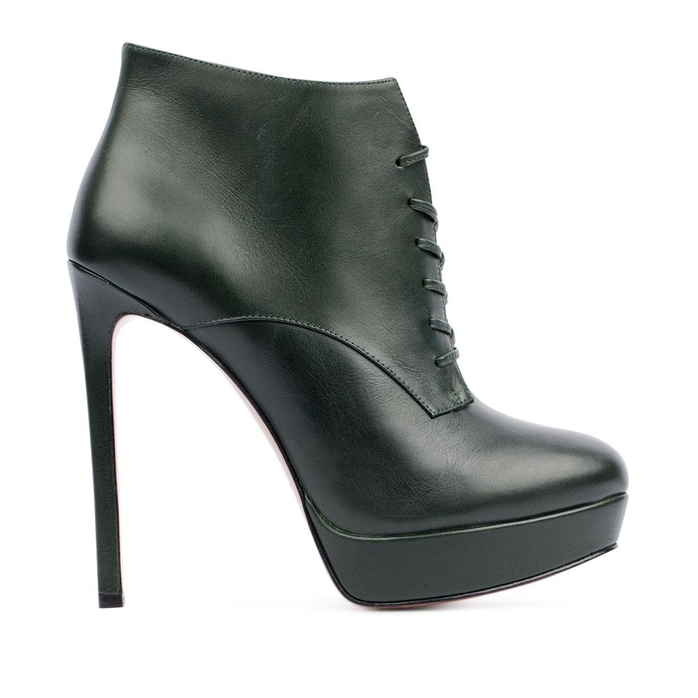 Ботильоны из кожи темно-зеленого цвета со шнуровкой на высоком каблуке