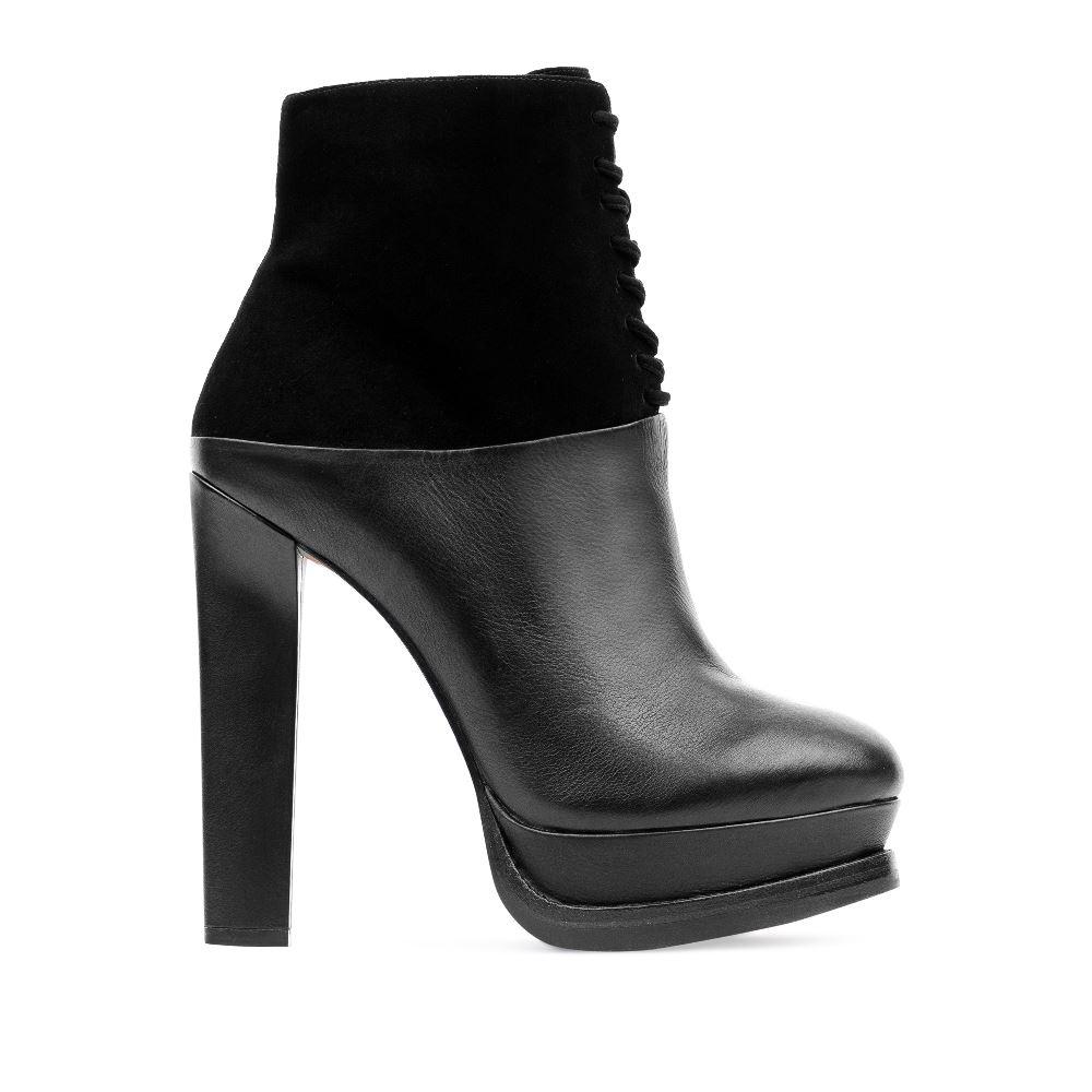 Ботильоны из кожи и замши черного цвета на шнуровке