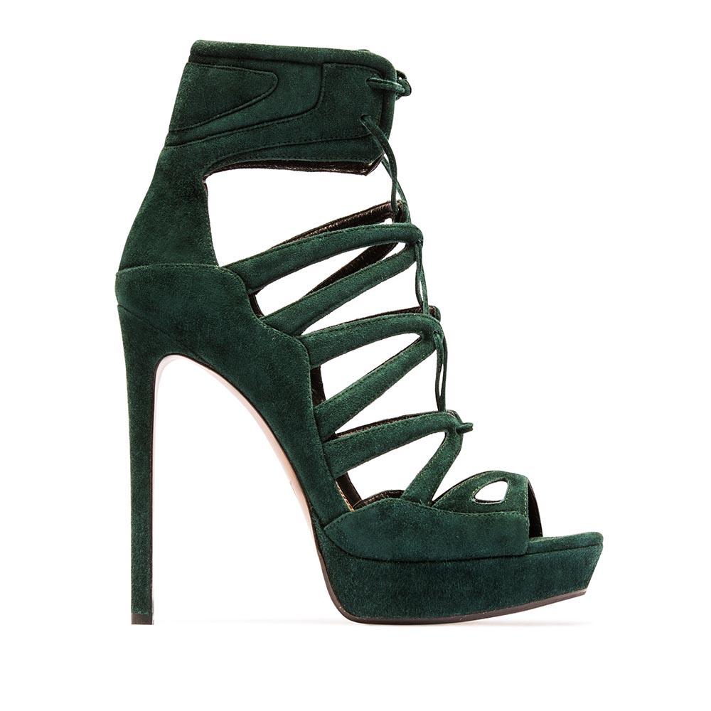 Туфли изумрудного цвета из замши с закрытой щиколоткой