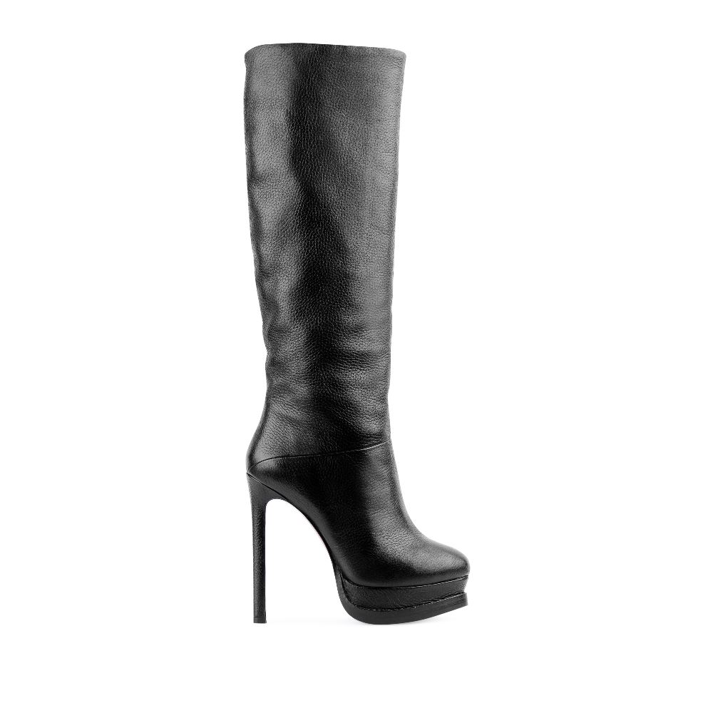 Сапоги из кожи черного цвета на платформе и высоком каблукеСапоги женские<br><br>Материал верха: Кожа<br>Материал подкладки: Мех<br>Материал подошвы:Кожа<br>Цвет: Черный<br>Высота каблука: 13 см<br>Дизайн: Италия<br>Страна производства: Китай<br><br>Высота каблука: 13 см<br>Материал верха: Кожа<br>Материал подкладки: Мех<br>Цвет: Черный<br>Вес кг: 1.00000000<br>Размер обуви: 38.5
