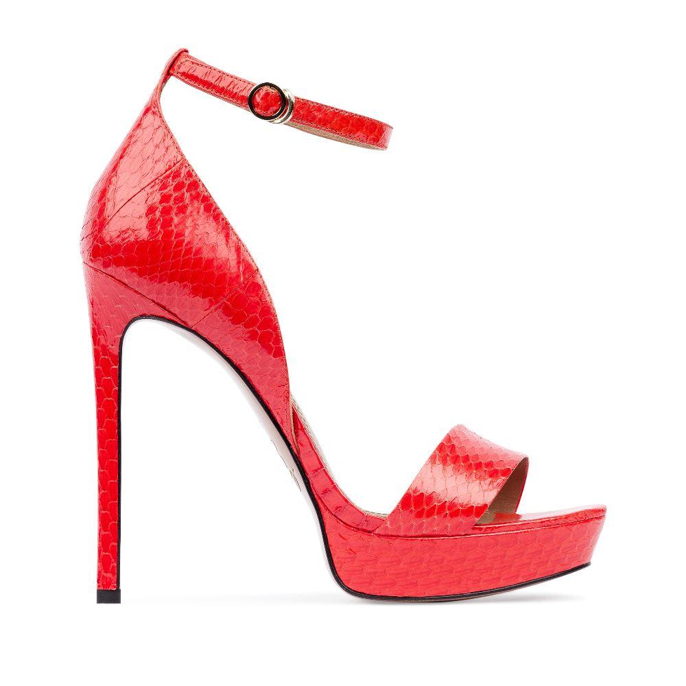 Босоножки из лакированной кожи змеи кораллового цвета на завязкахБосоножкиженские<br><br>Материал верха: Кожа змеи<br>Материал подкладки: Кожа<br>Материал подошвы: Кожа<br>Цвет: Красный<br>Высота каблука: 13 см<br>Дизайн: Италия<br>Страна производства: Китай<br><br>Высота каблука: 13 см<br>Материал верха: Кожа змеи<br>Материал подкладки: Кожа<br>Цвет: Красный<br>Вес кг: 0.50000000<br>Выберите размер обуви: 39**