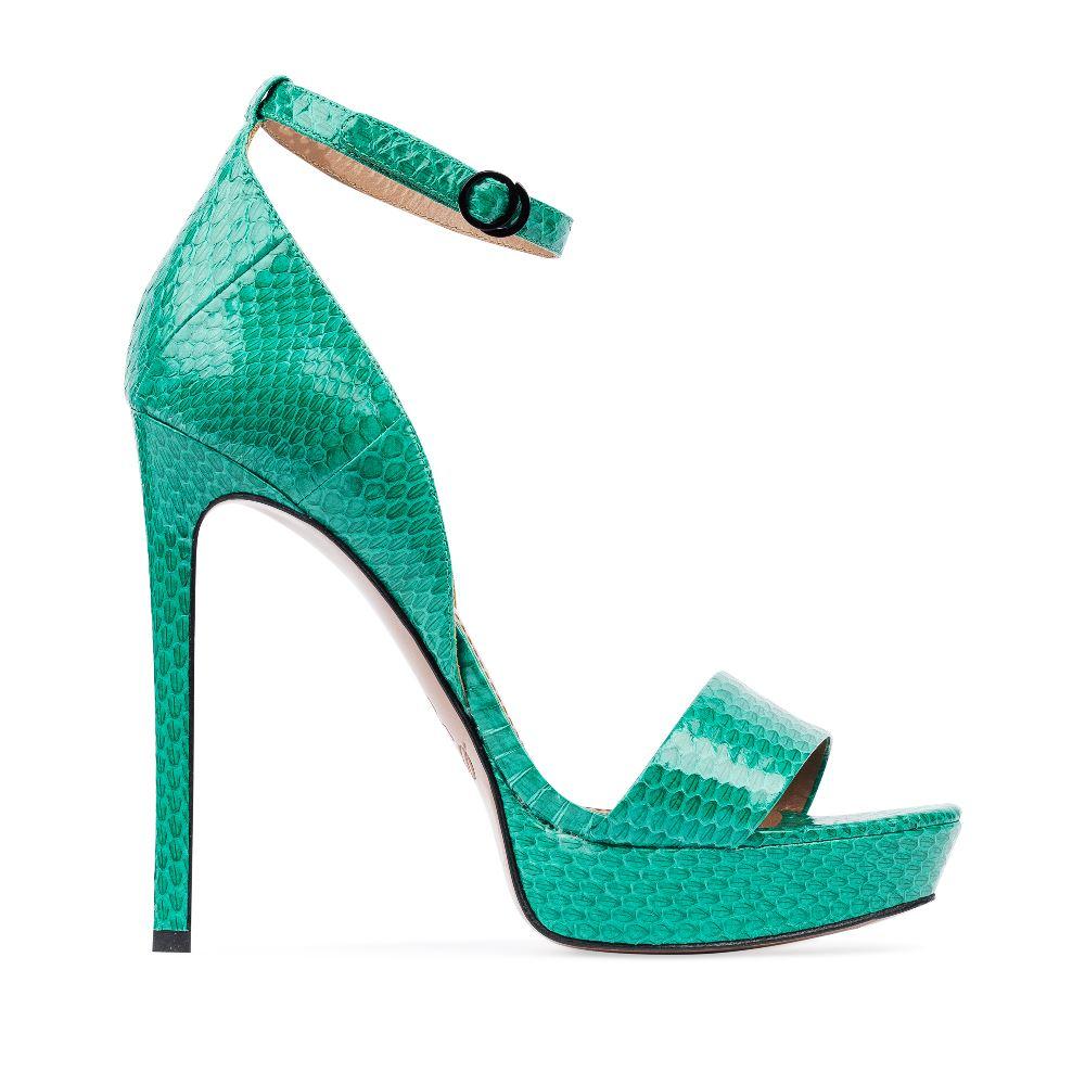 Босоножки из лакированной кожи змеи изумрудного цвета на завязкахБосоножки женские<br><br>Материал верха: Кожа змеи<br>Материал подкладки: Кожа<br>Материал подошвы: Кожа<br>Цвет: Зеленый<br>Высота каблука: 13 см<br>Дизайн: Италия<br>Страна производства: Китай<br><br>Высота каблука: 13 см<br>Материал верха: Кожа змеи<br>Материал подкладки: Кожа<br>Цвет: Зеленый<br>Вес кг: 0.50800000<br>Размер: 39