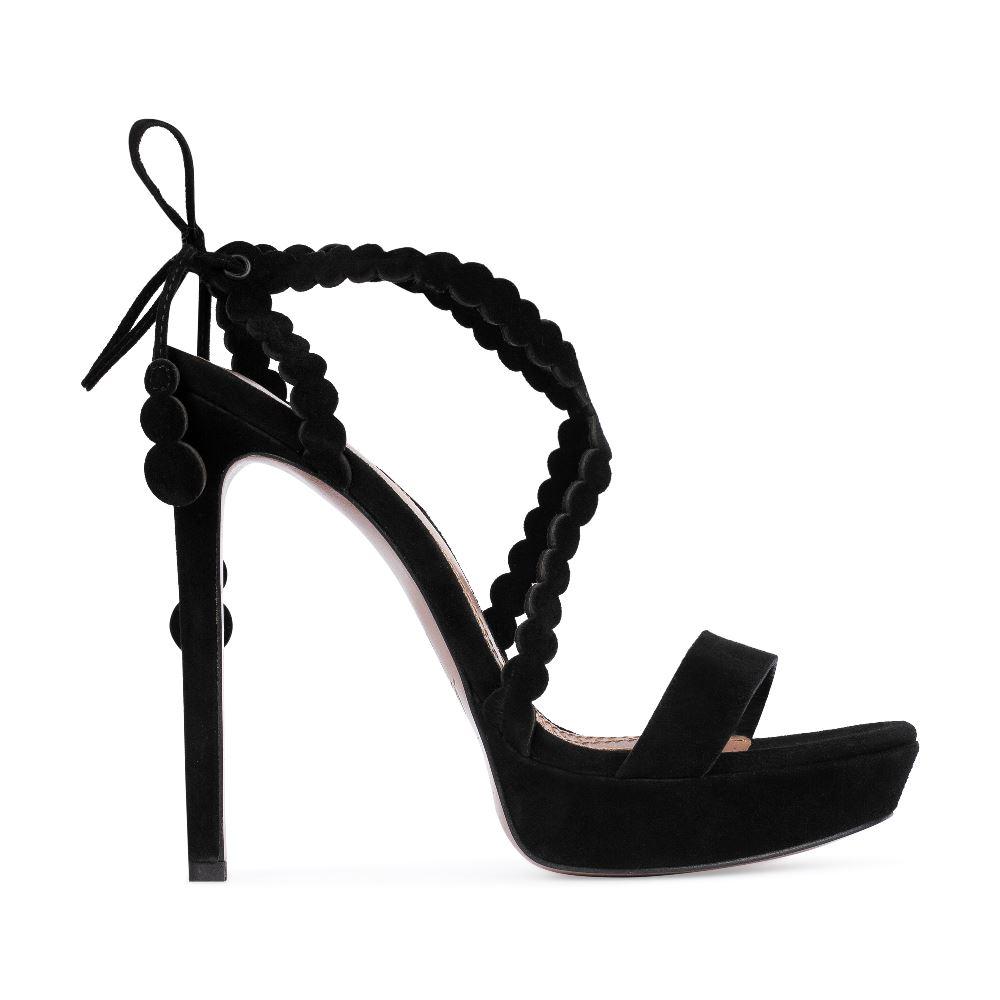 Замшевые босоножки черного цвета на высоком каблуке
