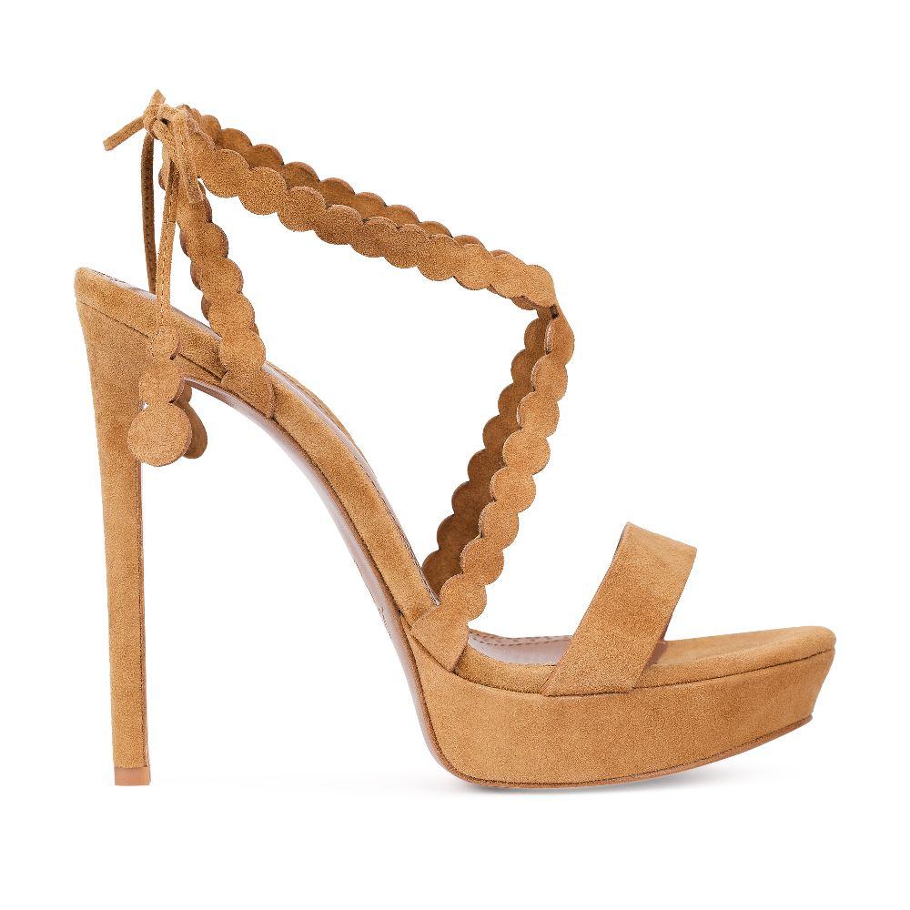 Босоножки из замши светло-коричневого цвета на высоком каблукеБосоножки женские<br><br>Материал верха: Замша<br>Материал подкладки: Кожа<br>Материал подошвы: Кожа<br>Цвет: Коричневый<br>Высота каблука: 13 см<br>Дизайн: Италия<br>Страна производства: Китай<br><br>Высота каблука: 13 см<br>Материал верха: Замша<br>Материал подкладки: Кожа<br>Цвет: Коричневый<br>Пол: Женский<br>Вес кг: 450.00000000<br>Размер: 38.5
