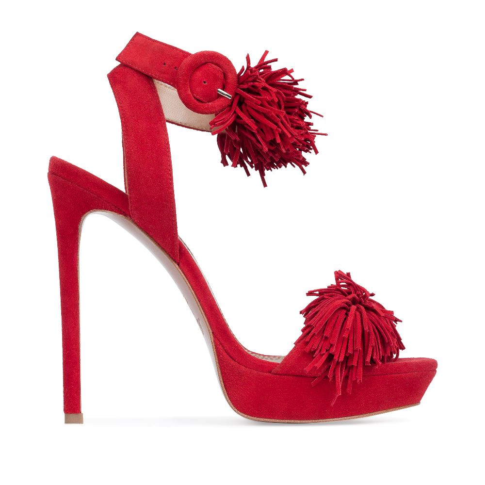 Босоножки из замши красного цвета с бахромойТуфли женские<br><br>Материал верха: Замша<br>Материал подкладки: Кожа<br>Материал подошвы: Кожа<br>Цвет: Красный<br>Высота каблука: 13 см<br>Дизайн: Италия<br>Страна производства: Китай<br><br>Высота каблука: 13 см<br>Материал верха: Замша<br>Материал подошвы: Кожа<br>Материал подкладки: Кожа<br>Цвет: Красный<br>Вес кг: 1.00000000<br>Размер: 38