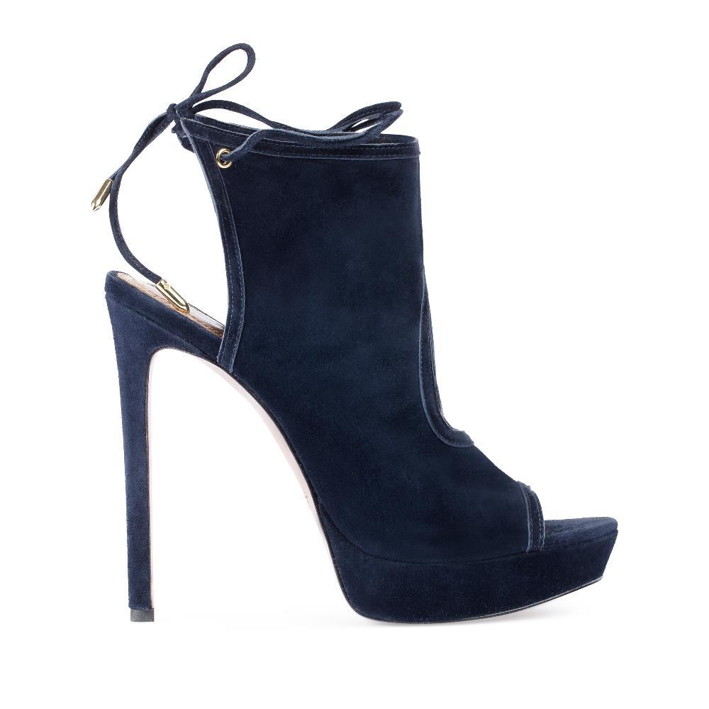 Босоножки из замши синего цвета на высоком каблуке