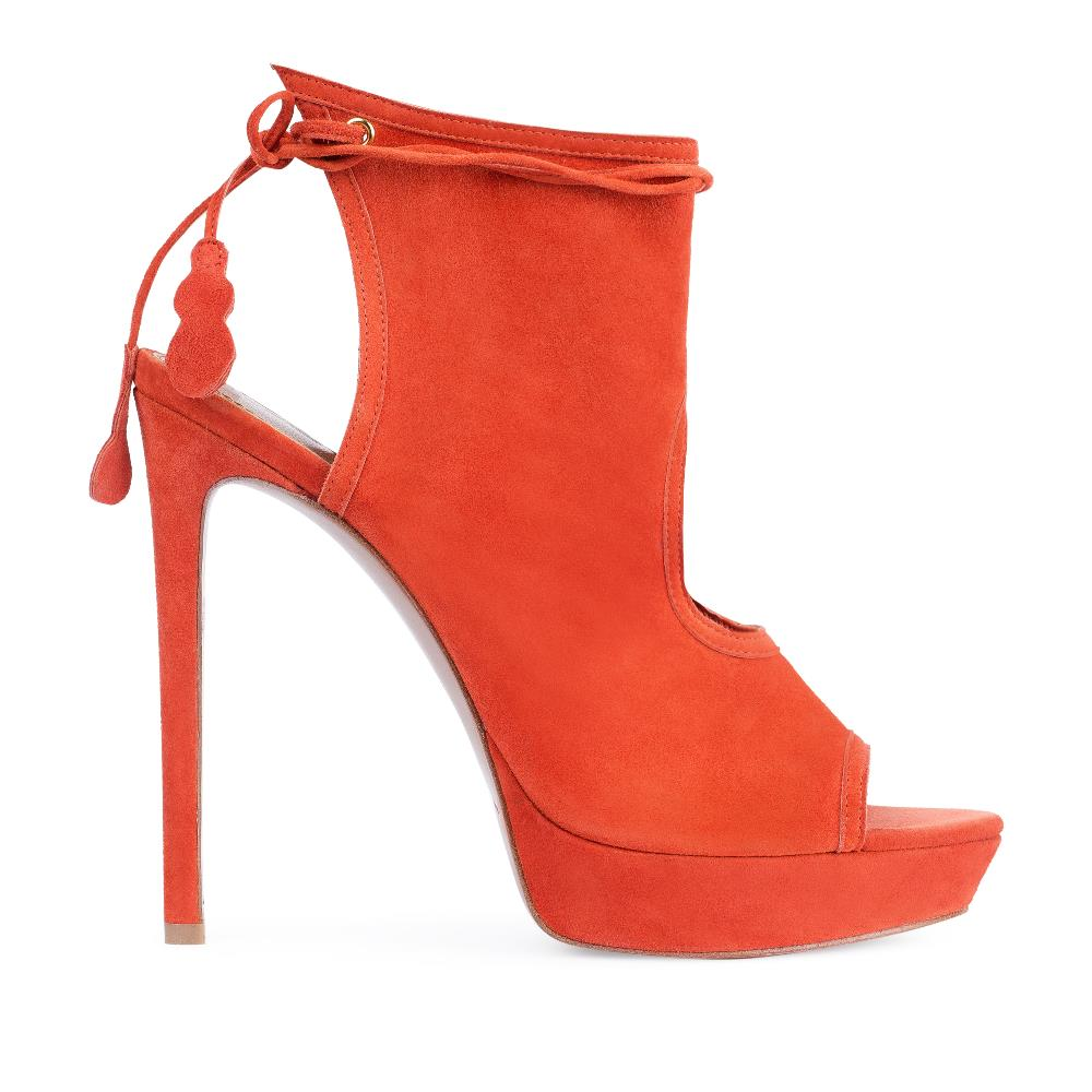 Босоножки из замши оранжевого цвета на высоком каблуке